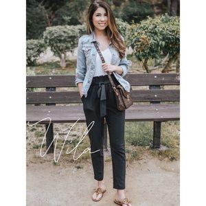 Paperbag pants black tied elastic waist